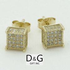 925.Ice-Out 6mm Square*Studs Earring Unisex.Box Dg Men's Gold Sterling Silver