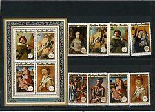 Rwanda 1974 Sc#594-601a tableaux Ensemble de 8 timbres & S/S Timbres MNH