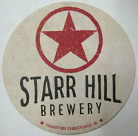 STARR HILL BREWERY red, white & black Beer COASTER Mat, Charlottesville VIRGINIA