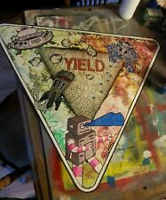 33 x 33 real metal yield road sign robots invasion space painting shortiez ink