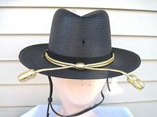 Vintage Black Straw Deluxe Trooper Law Man Hat W/Gold Braid & Chin Strap Size 7