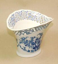 Schumann Arzberg Porzellan Vase - Echt Kobalt durchbrochener Rand Blumen Dekor