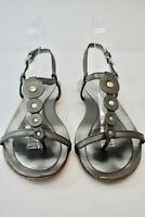 Tod's Silver Leather Women's Shoes Sandals Size 36 On Sale