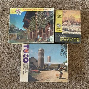 Lot Of 3 Beautiful Vintage TUCO Puzzles For Crafting With Missing Pieces #A6