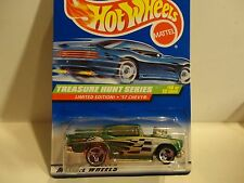 1998 Hotwheels Treasure Hunt #758 Green '57 Chevy Bel Air w/5 Spoke Wheels