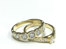 Wedding Band & Engagement - Pair of 18ct Yellow Gold Diamond Rings