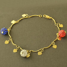 New 9k Gold Filled Big Beads With CZ Heart Pendant Womens Chain Bracelet Z5183