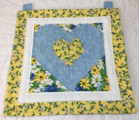 Patchwork Quilt Wall Hanging, Hand Made, Center Heart, Triangles, Blue, Yellow