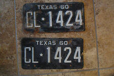 PAIR SET 1960 TEXAS LICENSE PLATES USED CONDITION CL 1424 BLACK WHITE
