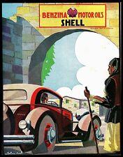 PUBBLICITA' 1931 SHELL BENZINA OLIO AUTO PAESE SARDO COSTUMI SARDEGNA W.ROSSI