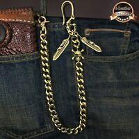 Skull Solid Brass  Biker Trucker Mens Wallet Chain Keychain Key Jean