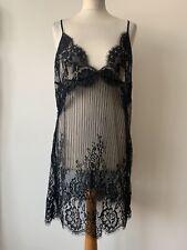 Hunkemoller SD Graphic Mesh Lace Chemise Black Size XL Nightdress