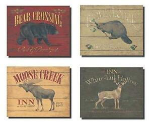 Rustic Deer Bear Beaver and Moose Sign; Cabin Lodge Decor; Four 10x8in Poster