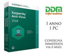 Kaspersky Antivirus 2017 / 2018 Licenza 1 anno 1 pc spedizione immediata