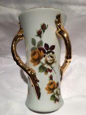 """Vintage Porcelain Hand Painted 3 Handle Twisted Floral Roses Design Vase 7 1/8"""""""