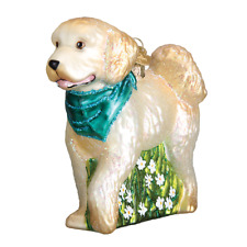 Goldendoodle/Labradoodle-Cream-Blown Glass Christmas Ornament by Old World Chris