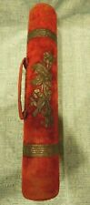 ANTIQUE VICTORIAN RED VELVET W SILVERPLATE ACCENT KNITTING NEEDLE HOLDER CASE