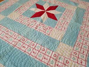 Vintage Handmade Quilt Star Feedsack Hand Sewn Red & Blue 60x70