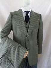 UNION MADE 70s cocoa brown pinstripe wool 3 three piece dandy suit 31x30 38R
