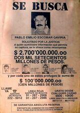 PABLO ESCOBAR DEA WANTED POSTER FLYER COLOMBIAN MEDELLIN DRUG CARTEL SE BUSCA