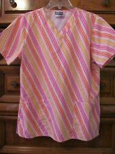 Scrub Zone Scrub.Pink/Yellow/Orange Stripe.2 Patch Pockets.Size M