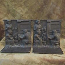 Vintage 1920's Bronze Finish 'THE WEAVERS' Book Ends/Semi Nude/Good Condition!