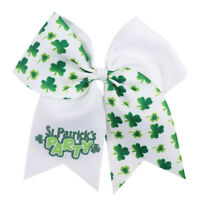 7'' St. Patrick's Day Cheer Bow Printed Green Shamrock Hairbow With Elastic Rope