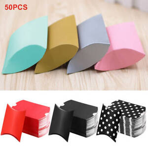 50pcs Cute Candy Boxes Pillow Shape Gift Paper Box Wedding Birthday Party Favor