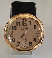 LADIES BIG GOLD FINISH NUMBER DIAL/BLACK  STRETCHY BAND FASHION WOMEN'S WATCH