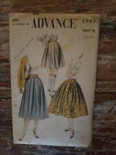"""Advance 6989 Vintage 50' Box Pleated Skirt Pressed Unpressed Bouffant Waist 24"""""""