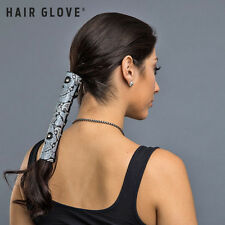 "Hair Glove® 8"" Leather Skull Paisley w/Gem Stones on Black Ponytail Holder 31834"