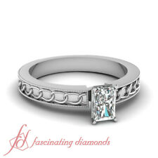 3/4 Carat Radiant Cut:Very Good Diamond Solitaire Chain Pattern Engagement Ring