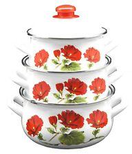 6 Pieces Enamel Cookware Pot Set, 2.5,3.4,5.9 Quarts, Dishwasher Safe