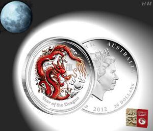 Lunar II DRACHE DRAGON 0,5 / 1/2 oz Silber-Muenze PP PROOF COLOR rot