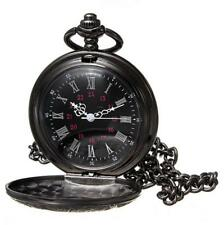 Antique Mechanical Skeleton Steampunk Mens Pocket Watch Gift Chain Black