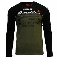 Superdry Mens Shirt Shop Panel Long Sleeve Crew Neck Print T-Shirt Top Black