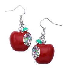 One Bite Red Apple Dangle Charm Earrings Jewelry Gift for Teachers Girls Women