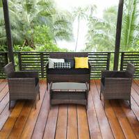 4 PCS Outdoor Patio Rattan Furniture Set Table Shelf Sofa W/ Black Cushions NEW