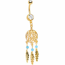 Gold Dream Catcher Belly Button Ring 14g Anodized Over Surgical Steel