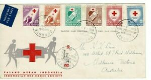 Stamps Indonesia 1956 Red Cross Society set of 6 on FDC registered to Australia