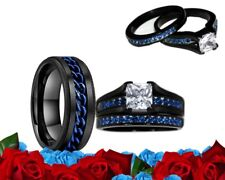 His Tungsten and Her stainless steel Blue Cz Black Engagement wedding ring set