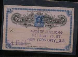 Ecuador   nice  postal card  to  US      MS0624