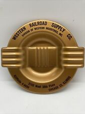 Vintage Ashtray Western railroad supply company Chicago Illinois Metal