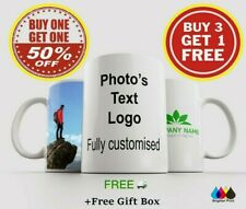 Personalised Photo Mug Cup Custom Design Image Text Name Logo Quality Print Gift