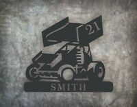 Personalized Sprint Car Metal Wall Art Hanging