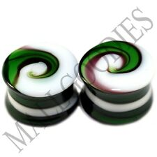 """0182 Double Flare Green White Swirl Glass Saddle Ear Plugs 5/8"""" In 16mm Spiral"""