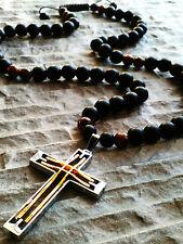 Halskette Onyx perlen Anhänger Kreuz Tigerauge stein Schmuck Rosenkranz herren