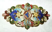 ANTIQUE FRENCH ART NOUVEAU CHAMPLEVE ENAMEL BELT BUCKLE VERY ORNATE,CHASED BACK