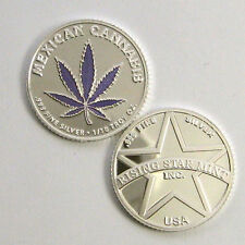 1/10th Troy Oz .999 Solid Fine Silver Mexican Purple Leaf Cannabis Coin/Round