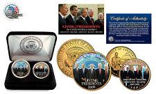 LIVING PRESIDENTS (Obama-Bush-Carter-Clinton) 24K Gold Legal Tender 2 Coin Set.